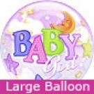 Large Baby Girl Moons and Stars Balloon